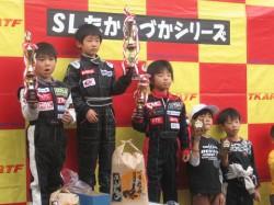 キッズGT1クラス表彰式 2位入賞EITO 3位入賞SHOUSEI
