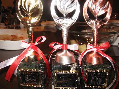 3つ揃った金・銀・銅のシリーズ盾